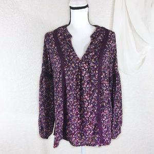 Simply Styled Purple Floral V-Neck Career Blouse